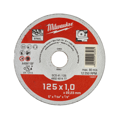 Skæreskive Ø125x1,0 Metal STD Milwaukee
