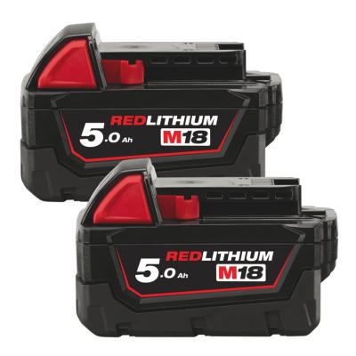 Batterisæt 2x5,0 Ah 18V M18B52 + Gratis M12 2Ah batteri Milwaukee
