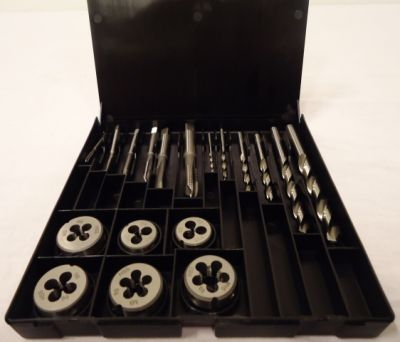 Gevindskæresæt 3-10mm HSS Völkel Tysk kvalitet incl skærebakke & Spiralbor